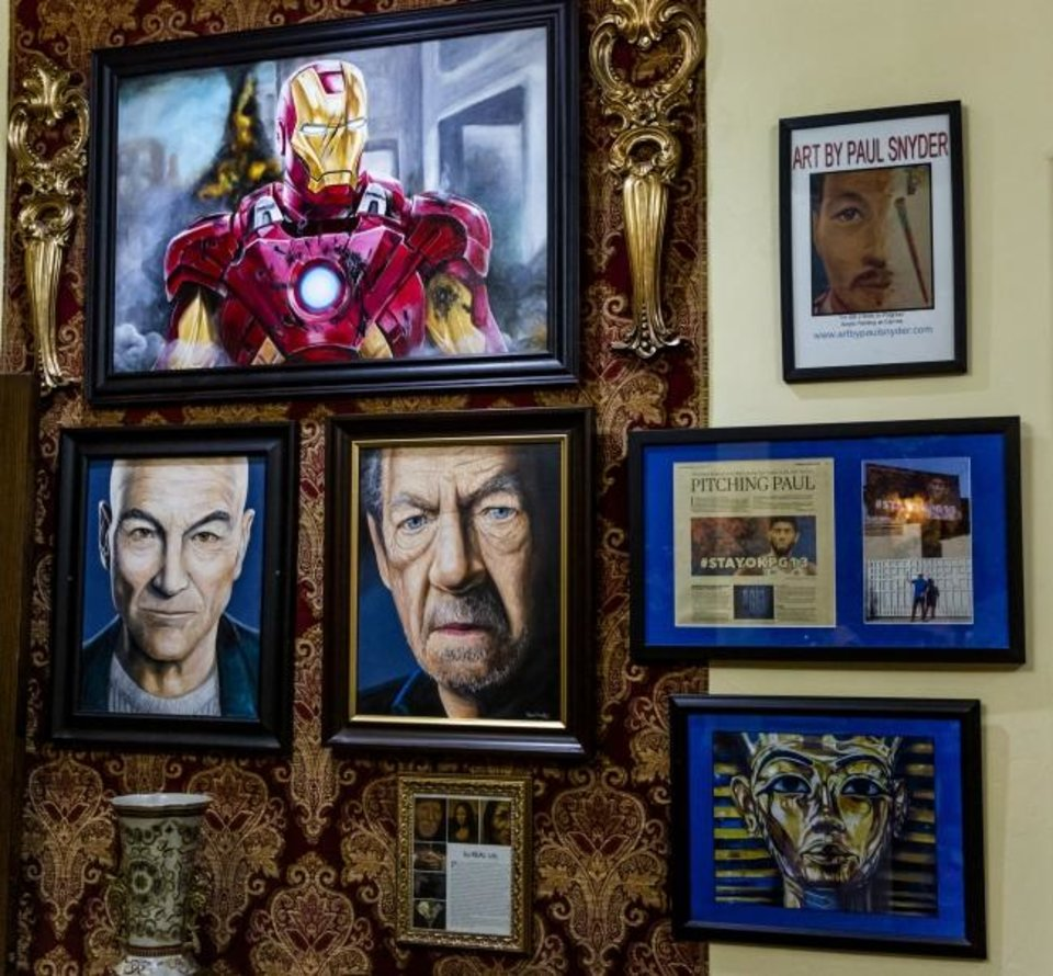 Photo -  Movie character artwork created by multi-media artist Paul Snyder at his home in Moore Okla. on Friday, June 7, 2019. [Chris Landsberger/The Oklahoman]