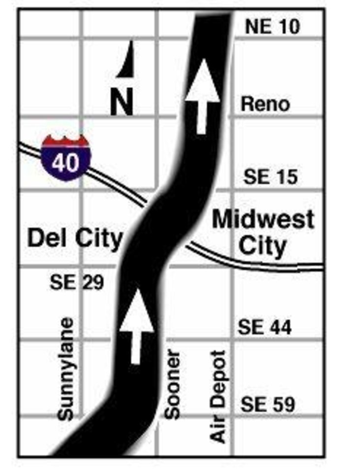 MAY 3, 1999 TORNADO: MAY 3, 1999 TORNADO: Tornado's Path: Del City - Midwest City map