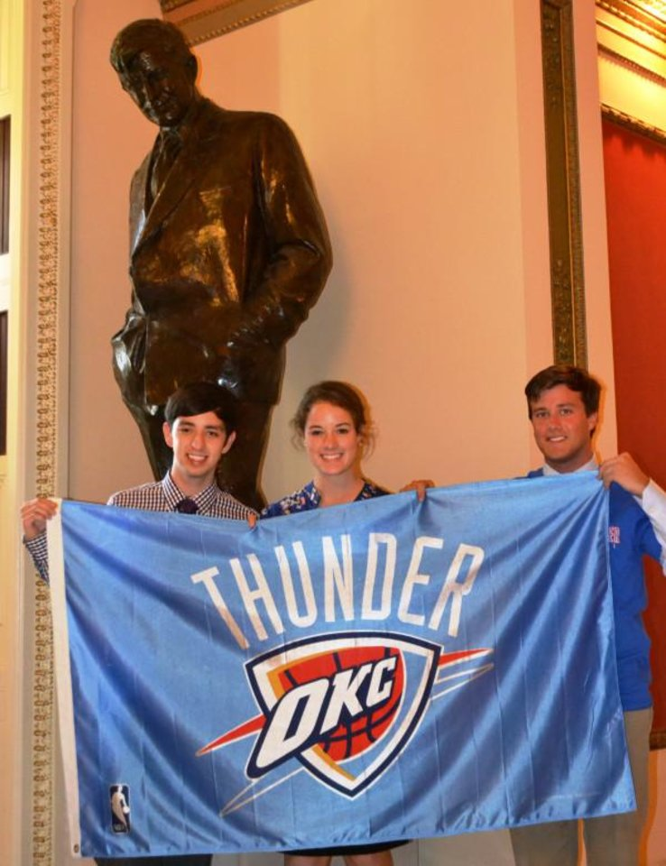 Rep. James Lankford's DC interns took the office Thunder flag to Thunder Up with Oklahoma's Favorite Son, Will Rogers.
