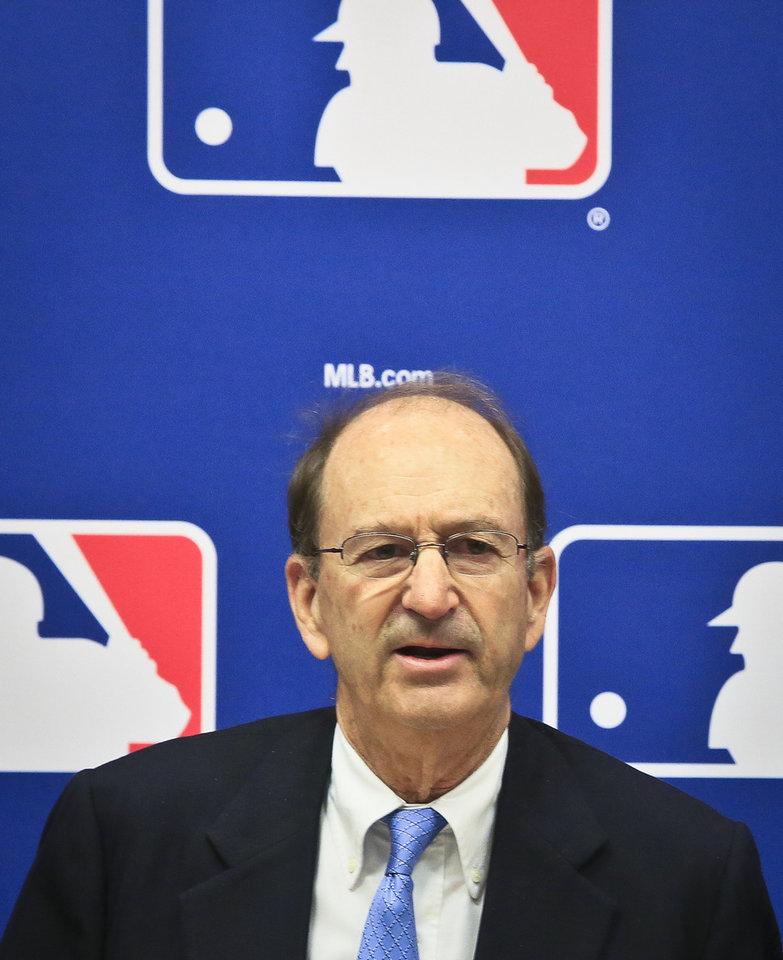 Photo - St. Louis Cardinals chairman Bill DeWitt speaks during a press conference, Thursday, May 15, 2014 at Major League Baseball headquarters in New York. DeWitt was appointed chairman of a succession committee to determine the process for replacing Commissioner Bud Selig, who has headed baseball since 1992 and plans to retire in January 2015.  (AP Photo/Bebeto Matthews)