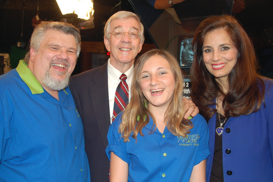 Sam P. Vladovich, founder of Spiritful Voices Community Choir, takes a break with local TV personality Gaylon Stacy, Sam's daughter, Nichole Vladovich, and co-host Kimberly Brasher, during OETA Television's AugustFest 2007. The statewide publc broadcasting network's annual telethon continues through Sunday, August 12.<br/><b>Community Photo By:</b> Madison Gilbert<br/><b>Submitted By:</b> Sam P., Oklahoma City