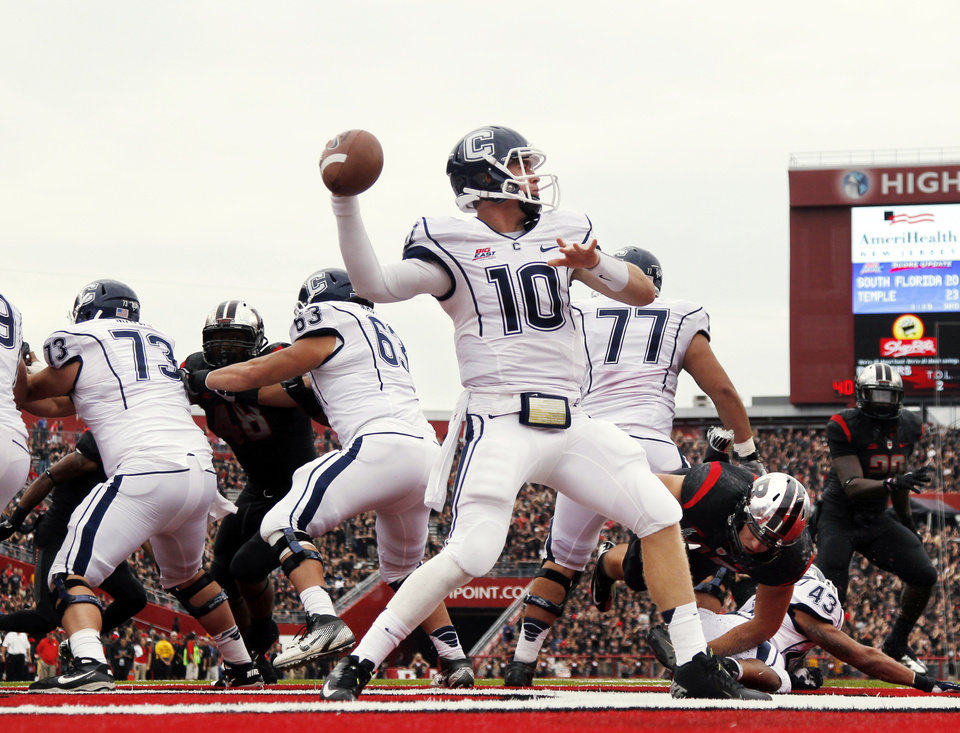 Connecticut quarterback Chandler Whitmer (10) throws a pass during the second half of an NCAA college football game against Rutgers in Piscataway, N.J., Saturday, Oct. 6, 2012. Rutgers won 19-3. (AP Photo/Mel Evans)