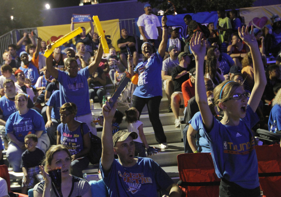 Around 5,000 fans gathered in Thunder Alley on April 30 during Game 2 in the first round series against the Dallas Mavericks. On Monday, a shooting about two or three blocks away from the Chesapeake Energy Arena left at least eight people injured. Archive photo by Garett Fisbeck, For The Oklahoman
