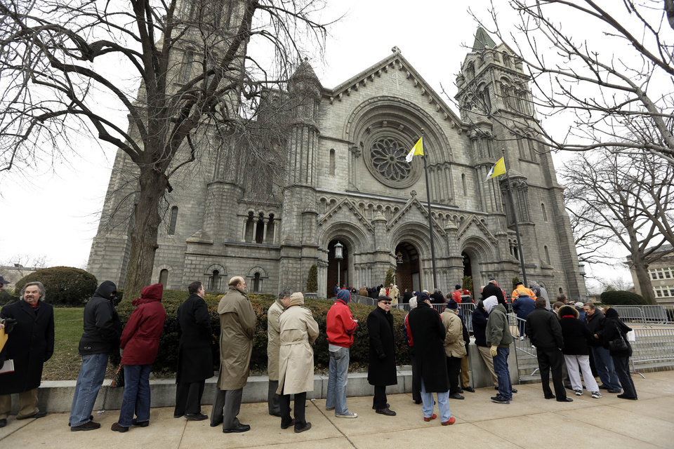 Mourners line up outside Cathedral Basilica of Saint Louis to pay their respects during the public visitation for former St. Louis Cardinals baseball player Stan Musial Thursday, Jan. 24, 2013, in St. Louis. Musial, one of baseball\'s greatest hitters and a Hall of Famer with the Cardinals for more than two decades, died Saturday, Jan. 19, 2013. He was 92. (AP Photo/Jeff Roberson)