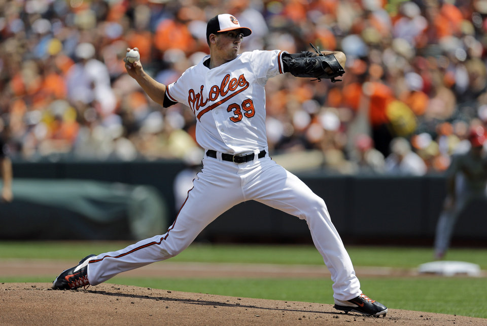 Photo - Baltimore Orioles starting pitcher Kevin Gausman throws to the St. Louis Cardinals in the first inning of an interleague baseball game, Sunday, Aug. 10, 2014, in Baltimore. (AP Photo/Patrick Semansky)