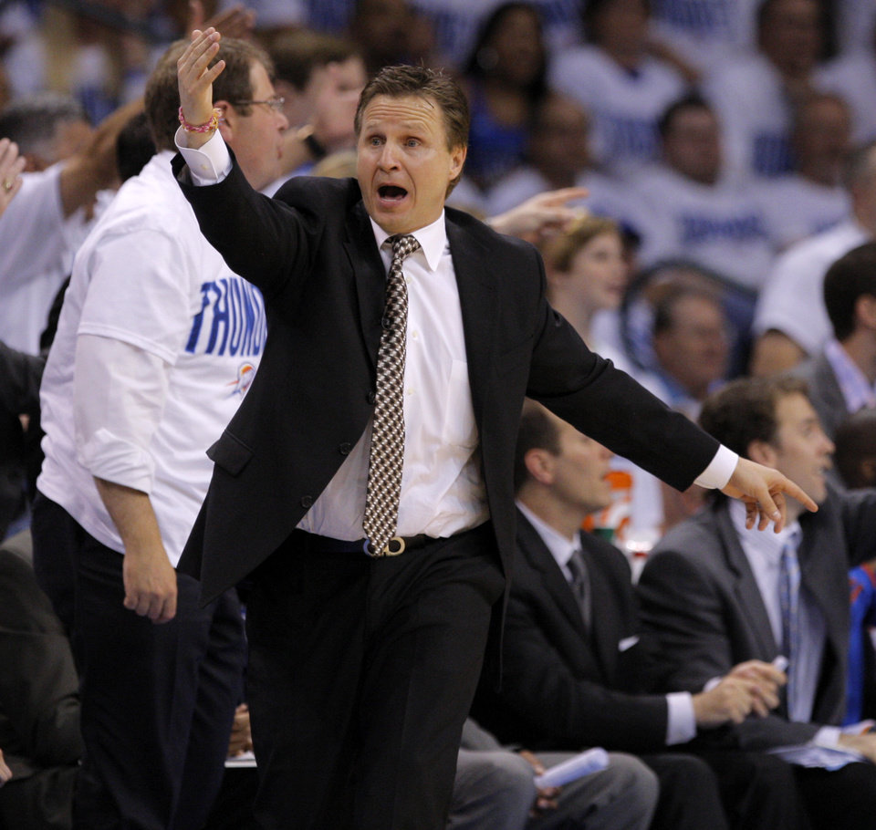 Photo - Oklahoma City coach Scott Brooks reacts during game five of the Western Conference semifinals between the Memphis Grizzlies and the Oklahoma City Thunder in the NBA basketball playoffs at Oklahoma City Arena in Oklahoma City, Wednesday, May 11, 2011. Photo by Bryan Terry, The Oklahoman