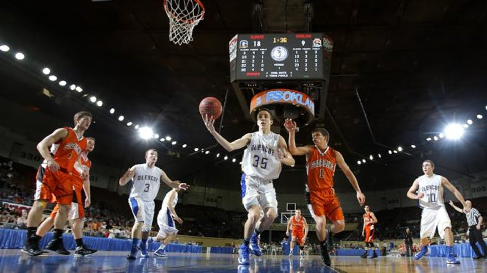 Glencoe\'s Ty Lazenby grabs rebound from Sterling\'s Kaden Hardzog during the Class A boys semifinal game of the state high school basketball tournament between Glencoe and Sterling at the State Fair Arena., Friday, March 1, 2013. Photo by Sarah Phipps, The Oklahoman