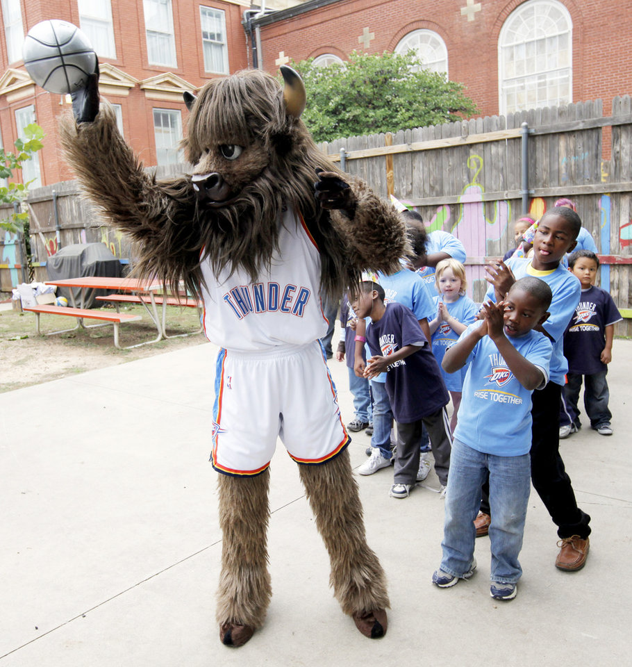 Photo - Six NBA mascots will be in town tonight to celebrate Thunder mascot Rumble the Bison's birthday.  PHOTO BY NATE BILLINGS,  THE OKLAHOMAN