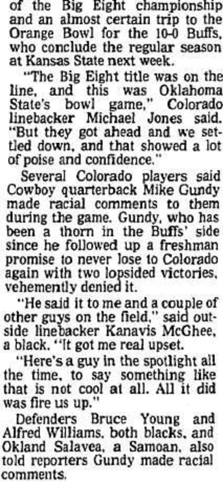 Photo - A section of an article in the Nov. 12, 1989, edition of The Daily Oklahoman after Colorado's win over Oklahoma State. [OKLAHOMAN ARCHIVES]