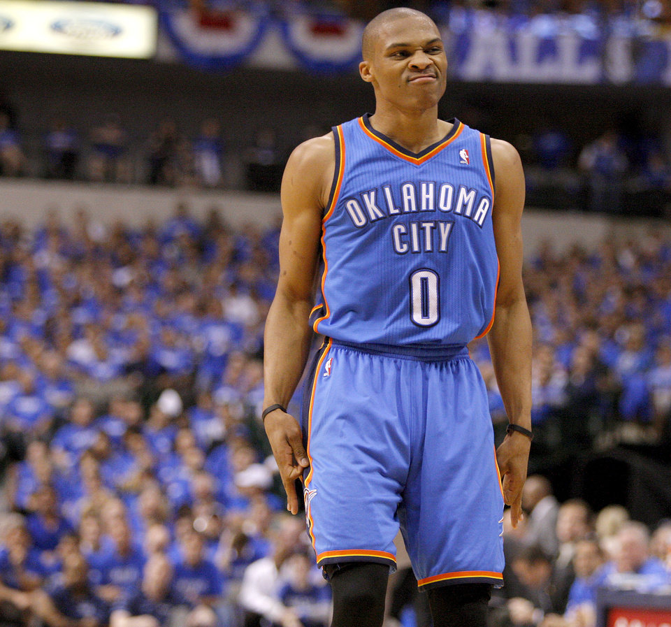 Oklahoma City's Russell Westbrook (0) reacts after a basket during Game 3 of the first round in the NBA playoffs between the Oklahoma City Thunder and the Dallas Mavericks at American Airlines Center in Dallas, Thursday, May 3, 2012. Photo by Bryan Terry, The Oklahoman