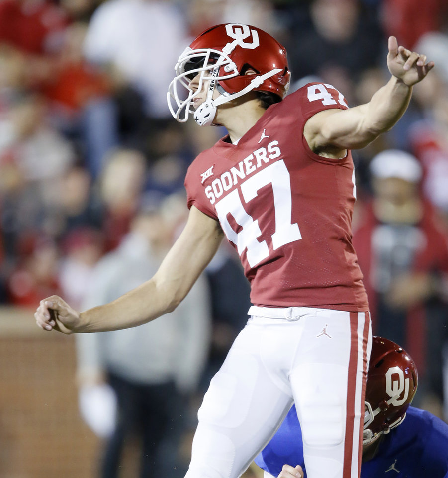 Photo - Oklahoma's Gabe Brkic (47) kicks an extra point during the University of Oklahoma's (OU) spring football game at Gaylord Family-Oklahoma Memorial Stadium in Norman, Okla., Friday, April 12, 2019. Photo by Bryan Terry, The Oklahoman