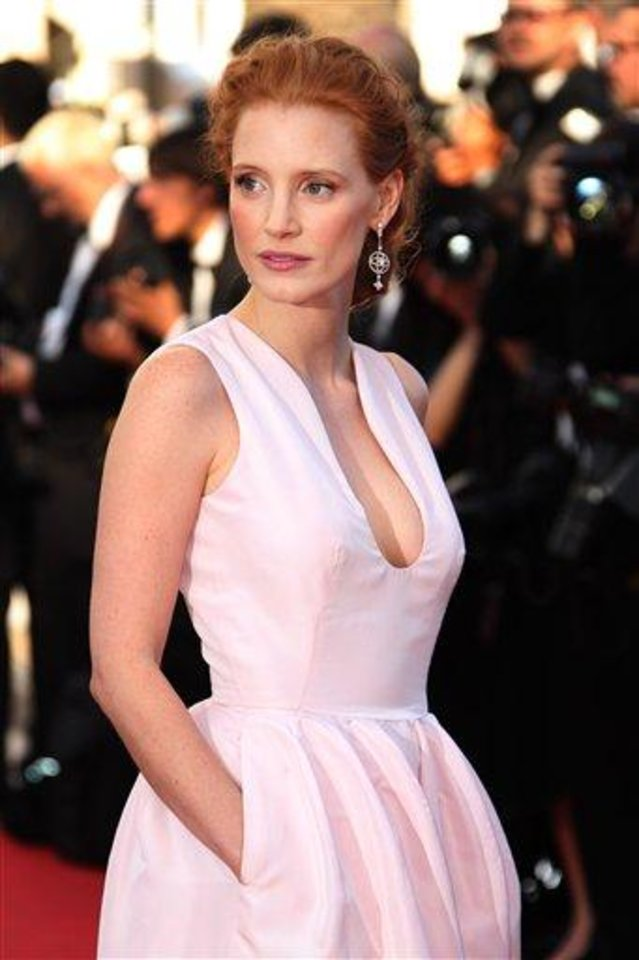 Photo - Actress Jessica Chastain arrives for the opening ceremony and screening of Moonrise Kingdom at the 65th international film festival, in Cannes, southern France, Wednesday, May 16, 2012. (AP Photo/Joel Ryan)