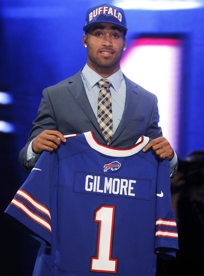 South Carolina cornerback Stephon Gilmore poses for photographs after being selected as the 10th pick overall by the Buffalo Bills in the first round of the NFL football draft at Radio City Music Hall, Thursday, April 26, 2012, in New York. (AP Photo/Jason DeCrow)