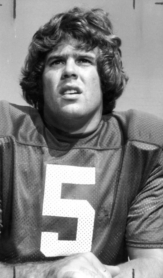 Photo - OU FOOTBALL Steve Davis 9-25-75;  Portrait of University of Oklahoma senior quarterback Steve Davis taken by staff photographer Jim Argo on 8/19/75.  Photo ran in the 9/25/75 and 11/23/75 Daily Oklahomans as well as the 1/1/76 Oklahoma City Times.  File:  Football/OU/Steve Davis/1975