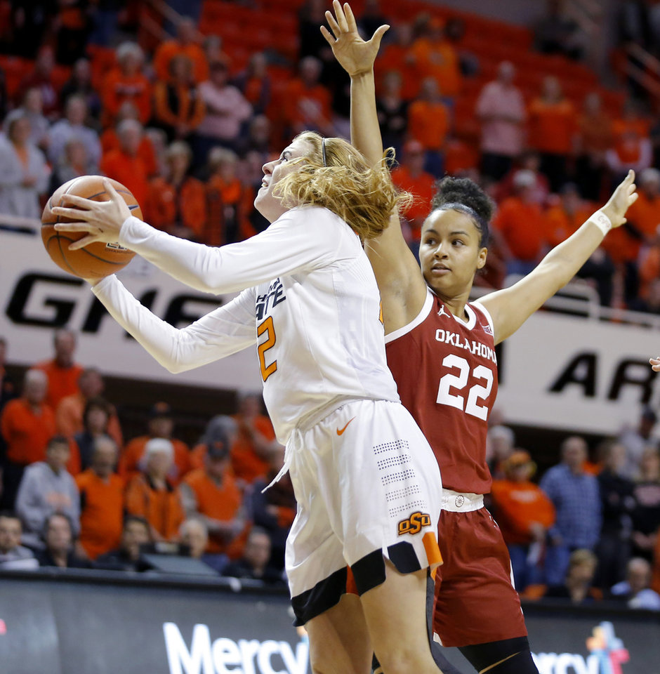 Photo - Oklahoma State's Vivian Gray (12) goes past Oklahoma's Ana Llanusa (22) during a women's Bedlam college basketball game between the Oklahoma State University Cowgirls (OSU) and the University of Oklahoma Sooners (OU) at Gallagher-Iba Arena in Stillwater, Okla., Wednesday, Jan. 8, 2020. [Bryan Terry/The Oklahoman]