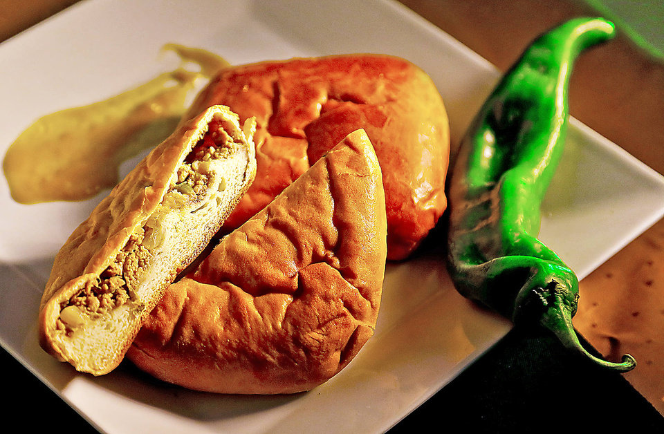 Green chile runza. Photo by Chris Landsberger, The Oklahoman CHRIS LANDSBERGER