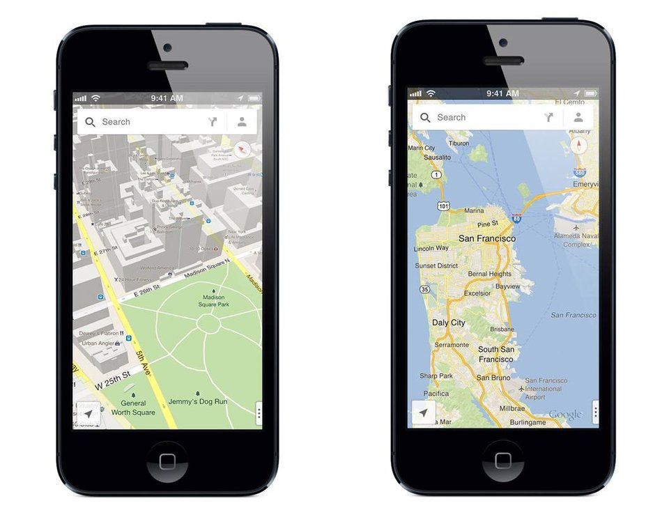 Photo - FILE - These file product images made available by Google show the new Google Maps iPhone app. The world's most popular online mapping system returned late Wednesday, Dec. 12, 2012, with the release of the Google Maps iPhone app. The release comes nearly three months after Apple Inc. replaced Google Maps as the device's built-in navigation system and inserted its own map software into the latest version of its mobile operating system. (AP Photo/Google, File)
