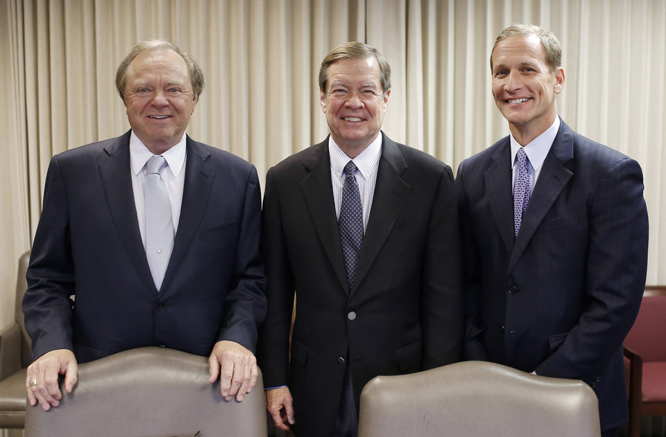 Photo - Oklahoma energy company leaders Harold Hamm, Continental Resources, Larry Nichols, Devon Energy and Doug Lawler, Chesapeake Energy, meet with The Oklahoman, Thursday, May 1, 2014. Photo by Doug Hoke, The Oklahoman