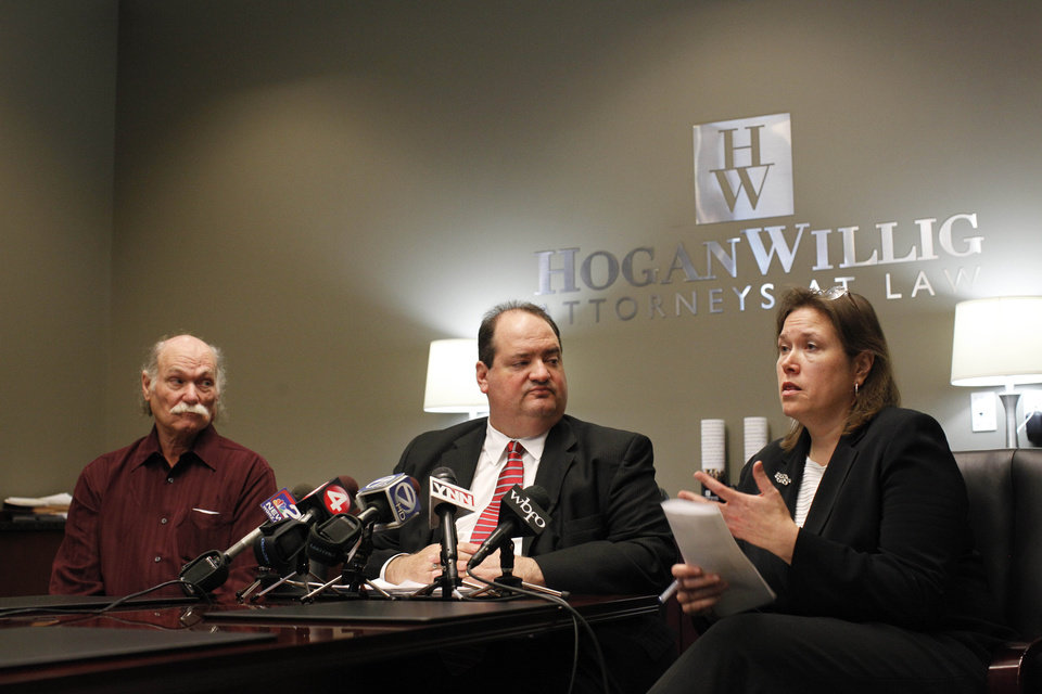 From left, Chuck Peters, husband of Lynn DeJac Peters, attorney Steven M. Cohen and attorney Diane Tiveron speak to reporters during a press conference to announce a $2.7 million settlement between New York State and his client, Lynn DeJac Peters, who was wrongfully convicted of murdering her daughter in 1993 and spent over 13 years in prison before being vindicated by DNA evidence,at the office of Hogan Willig in Amherst, N.Y. Tuesday, Nov. 13, 2012. A federal lawsuit against Erie County and the City of Buffalo is ongoing. (AP Photo/Buffalo News, Derek Gee) (AP Photo/The Buffalo News, ) TV OUT; MAGS OUT; MANDATORY CREDIT; BATAVIA DAILY NEWS OUT; DUNKIRK OBSERVER OUT; JAMESTOWN POST-JOURNAL OUT; LOCKPORT UNION-SUN JOURNAL OUT; NIAGARA GAZETTE OUT; OLEAN TIMES-HERALD OUT; SALAMANCA PRESS OUT; TONAWANDA NEWS OUT