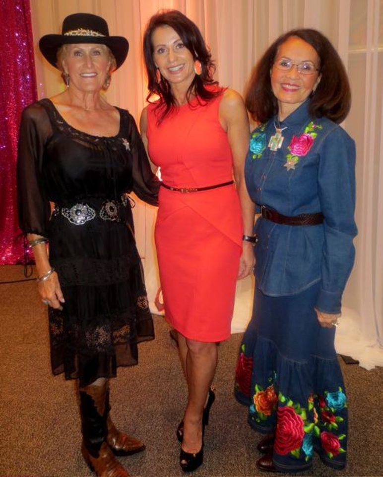 """Judy Hatfield, Nadia Comaneci, Terri Cooper look great at the Annie Oakley Society Award Luncheon which honored Comaneci. Members of the Annie Oakley Society and guests met at the National Cowboy & Western Heritage Museum. The mission of the Annie Oakley Society is """"to honor and raise awareness of outstanding women in all walks of life who exemplify the character, perseverance and moral fiber in the tradition of Annie Oakley."""" (Photo by Helen Ford Wallace)."""