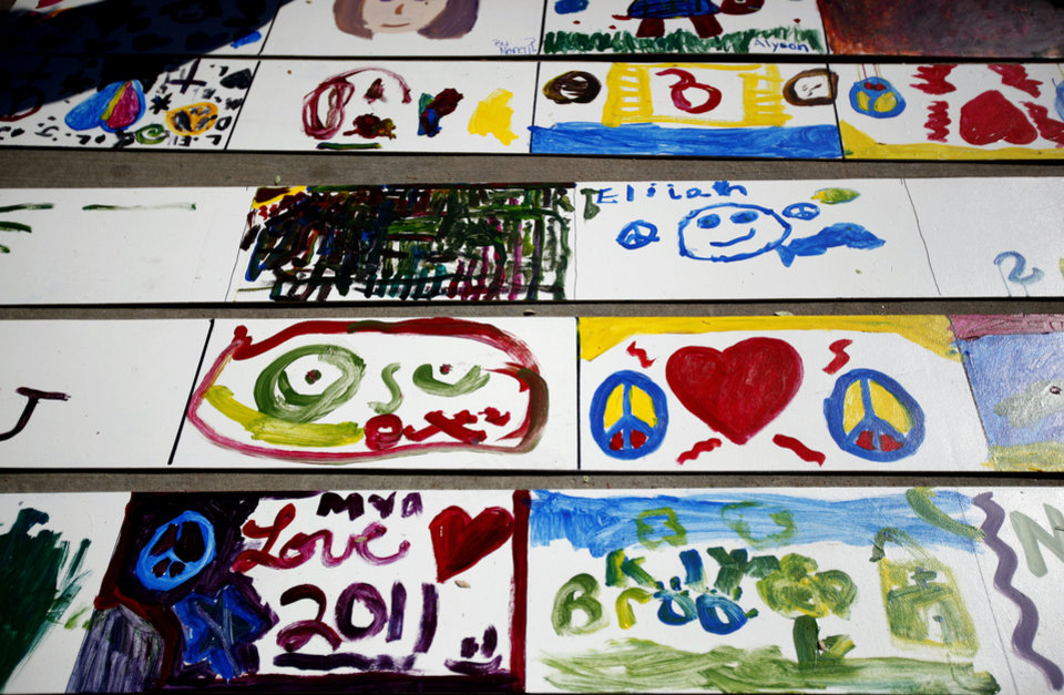 Children's artwork dries in the sun during the 2011 Plaza District Festiva in Oklahoma City. Photo by Sarah Phipps, The Oklahoman Archives <strong>SARAH PHIPPS - SARAH PHIPPS</strong>