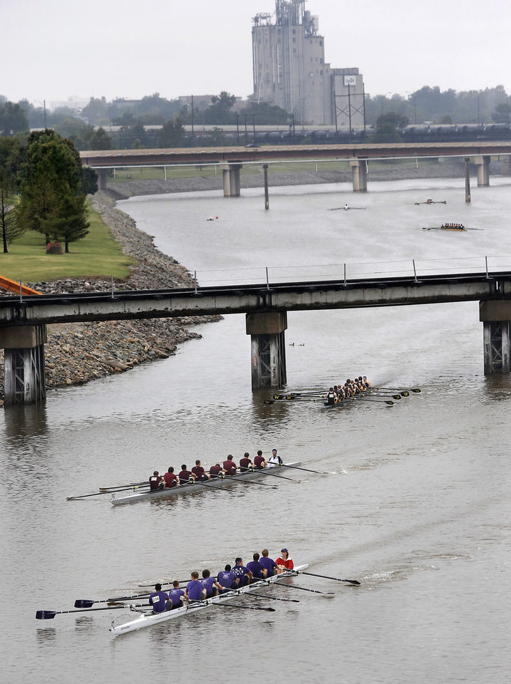 Boats compete on a cloudy, rainy day at the Oklahoma Regatta Festival on the Oklahoma River on Saturday. The event ends Sunday. Photo by Jim Beckel, The Oklahoman