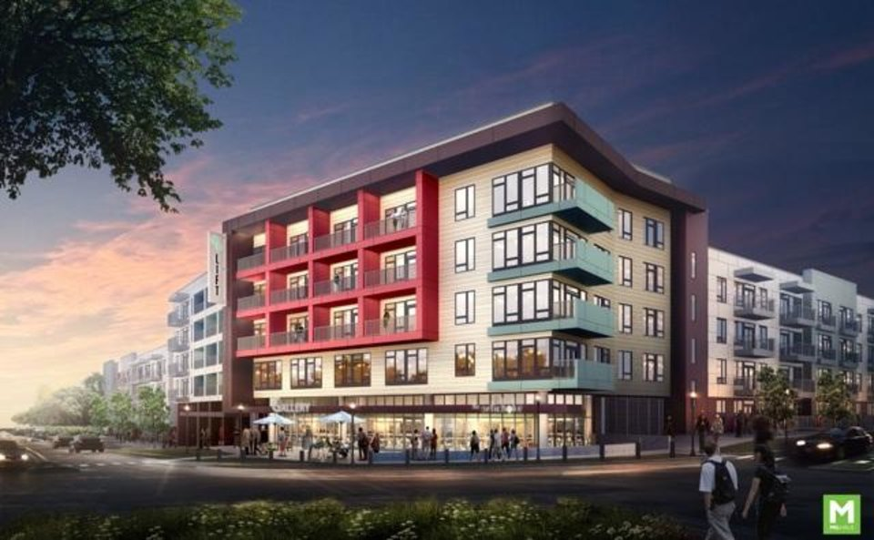 Photo -  LIFT, a 329-unit apartment complex, is set to be built next year overlooking the roundabout at NW 10 and Shartel Avenue in Midtown.Photo provided    - OPUBCO