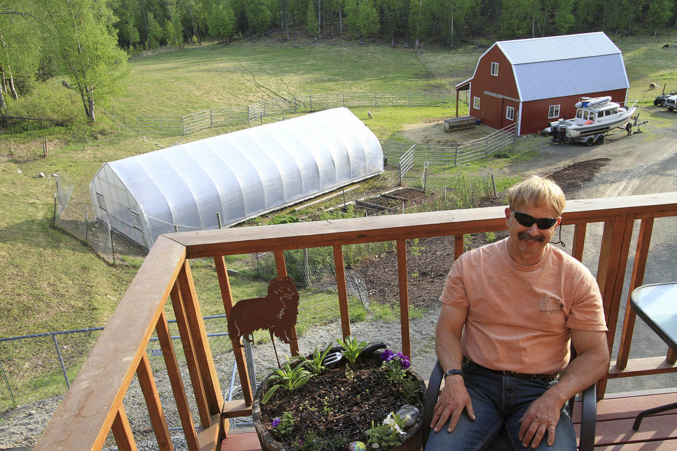 Photo - Lee Hecimovich smiles as he is interviewed about growing vegetables in his seasonal high tunnel, shown at rear left next to his barn and garden, on Friday, May 23, 2014, in Palmer, Alaska. The USDA's Natural Resource Conservation Service offers financial assistance to growers using the tall hoop houses to extend growing seasons, and has awarded more funding to Alaska for them than any other state. (AP Photo/Dan Joling)