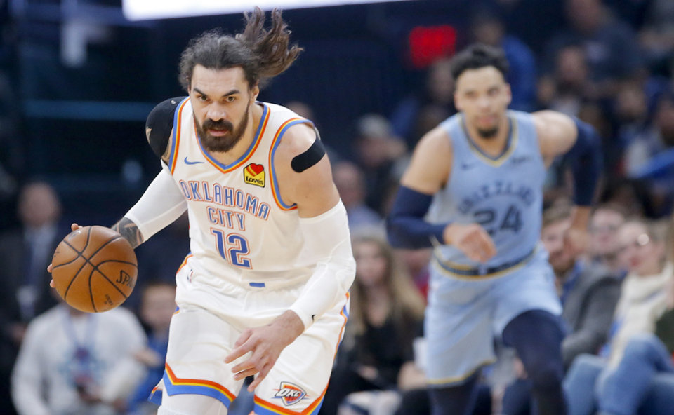 Photo - Oklahoma City's Steven Adams (12) drives up court after a steal during the NBA game between the Oklahoma City Thunder and the Memphis Grizzlies at the Chesapeake Energy Arena in Oklahoma City, Thursday, Dec. 26, 2019.   [Sarah Phipps/The Oklahoman]