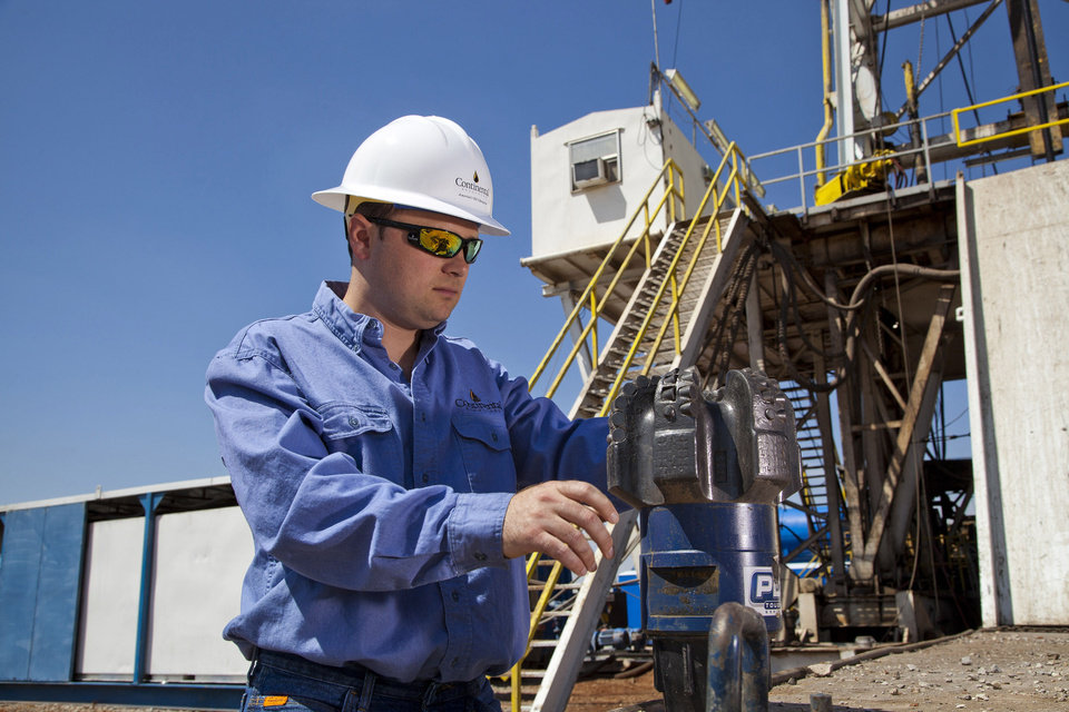 Continental Resources Inc. crews drill for oil near Chickasha. The region is part of the South Central Oklahoma Oil Province, or SCOOP, which has become one of Continental\'s two focus areas. - photo provided