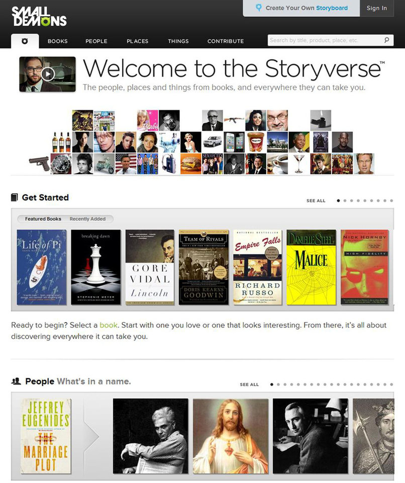 "Photo - This computer image released by SmallDemons.com shows the home page of Small Demons, an encyclopedia and ""Storyverse"" that catalogues names, places, songs, products and other categories for thousands of books. (AP Photo/SmallDemons.com)"