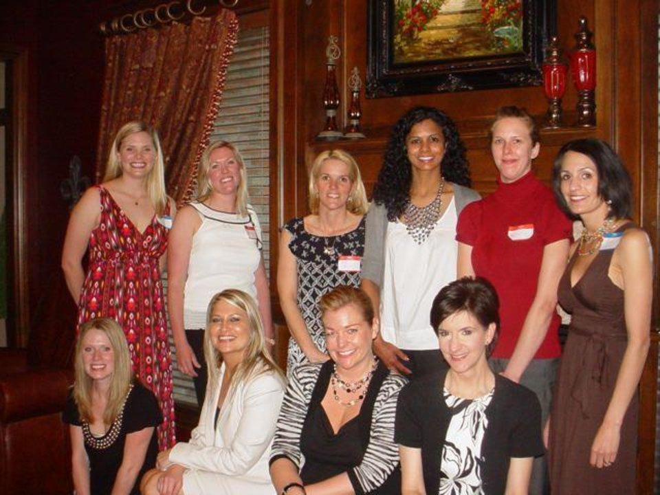 Front Row - Hayley Brown, Mindy Gasspari, Sonja Smith, Robin Waters   --    Back Row - Joanna Willcox (EWC Provisional Chair), Lisa   Kennedy, Nikki Graves, Sara Knudsen, Jessica Watson, Laura Burris   (EWC Provisional co-Chair) were at the Edmond Women's Club new member   party. (Photo provided).