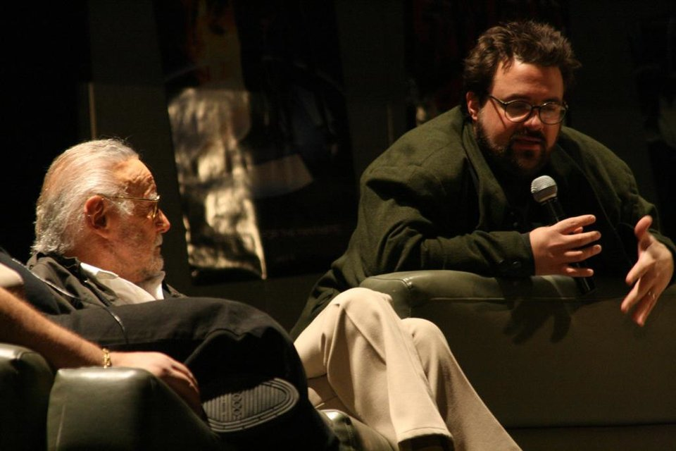 Photo - Comic book creator Stan Lee, left, and filmmaker Kevin Smith discuss the comic book industry during a benefit in December. That discussion is available on DVD. - PROVIDED