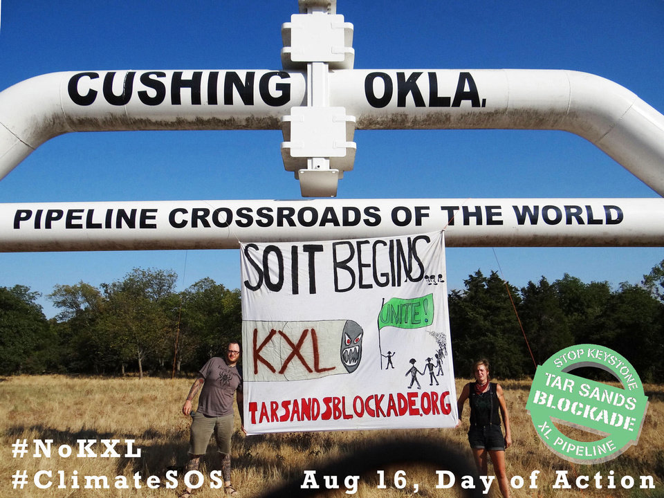 Members of Tar Sands Blockade on Thursday began their effort to stop construction of the Keystone XL pipeline. This picture was taken near Cushing. Photo provided
