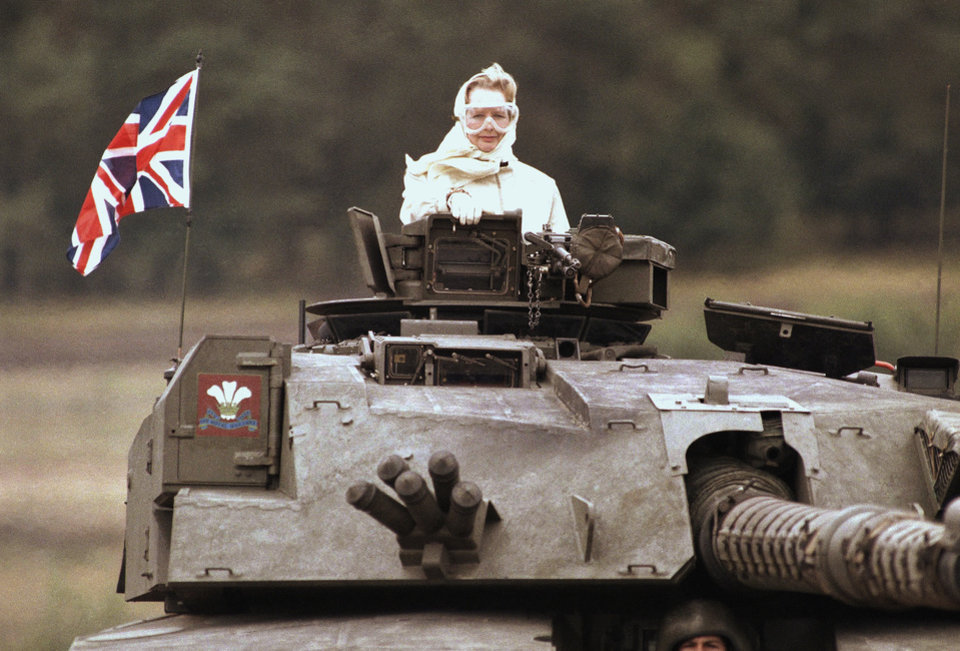 Photo - British Prime Minister Margaret Thatcher stands in a British tank during a visit to British forces in Fallingbostel, some 120km (70 miles) south of Hamburg, Germany. on Sept. 17, 1986. Thatchers former spokesman, Tim Bell, said that the former British Prime Minister Margaret Thatcher had died Monday morning, April 8, 2013, of a stroke. She was 87.(AP Photo/Jockel Fink)