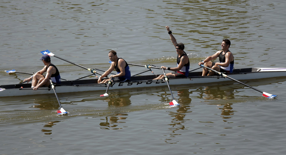 Rowers from the Austin Rowing Club celebrate their win in the Mens' Club CD 4x final during the USRowing Masters National Championships on the Oklahoma River, Sunday, Aug. 14, 2011. Photo by Sarah Phipps, The Oklahoman