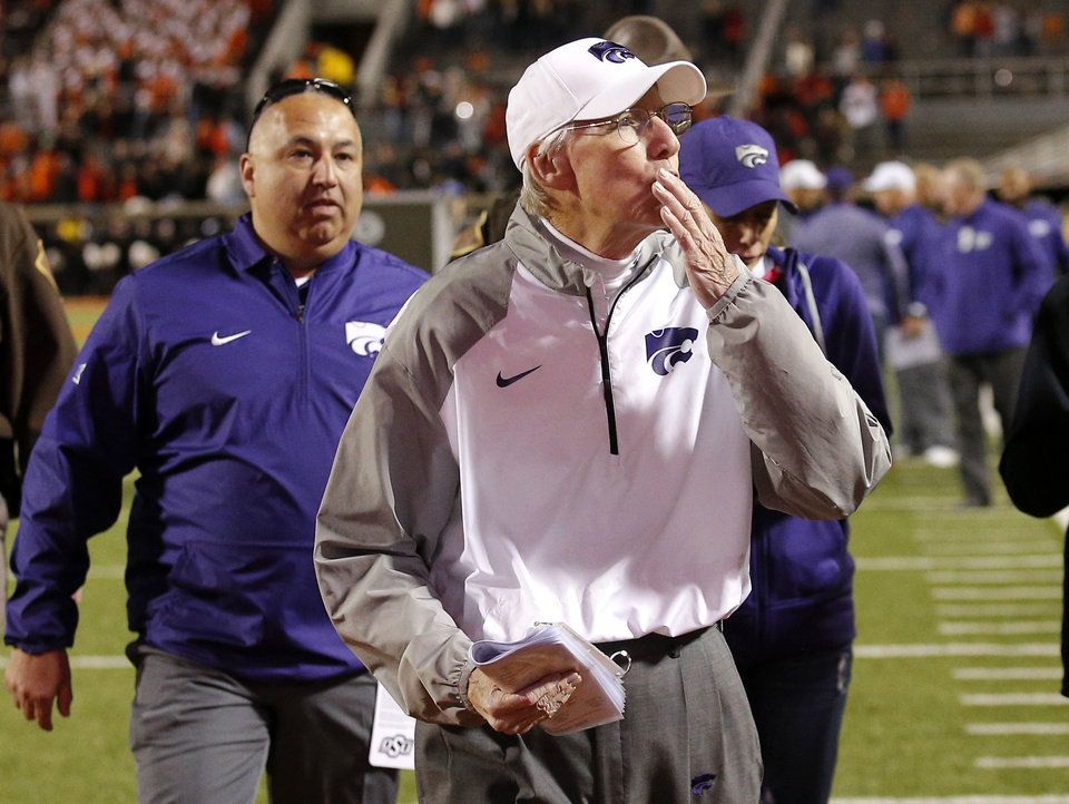Photo - Kansas State head coach Bill Snyder blows kisses to fans following a college football game between the Oklahoma State Cowboys (OSU) and the Kansas Sate Wildcats (KSU) at Boone Pickens Stadium in Stillwater, Okla., Saturday, Nov. 18, 2017. Photo by Sarah Phipps, The Oklahoman