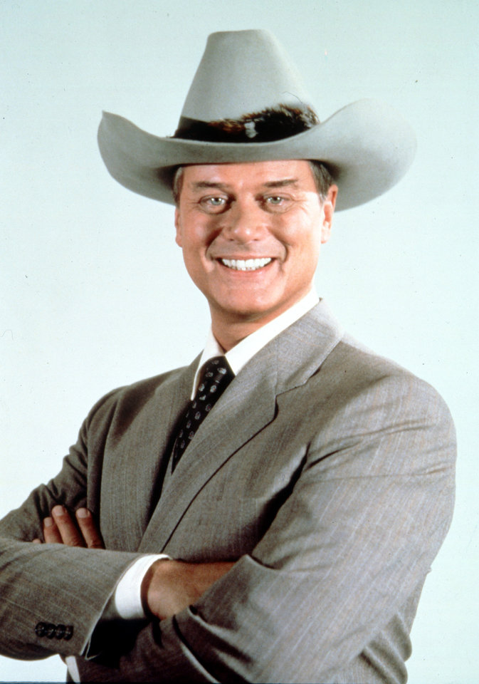 This 1981 file photo provided by CBS shows Larry Hagman in character as J.R. Ewing in the television series