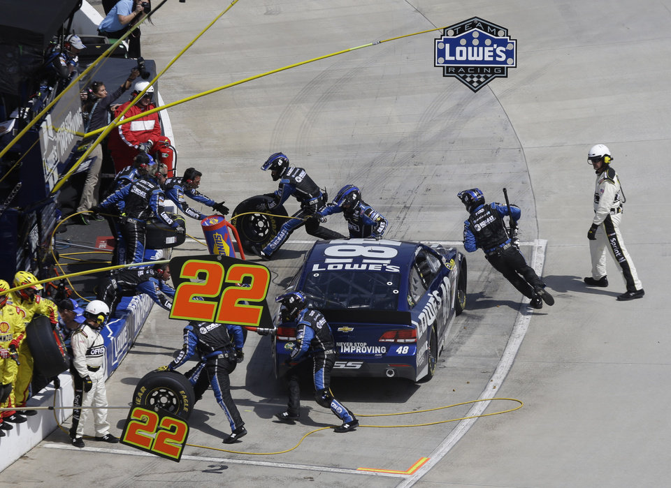 The pit crew for Jimmie Johnson (48) works on the car during the STP 500 NASCAR Sprint Cup series auto race at Martinsville Speedway in Martinsville, Va., Sunday April 7, 2013. (AP Photo/Steve Helber)