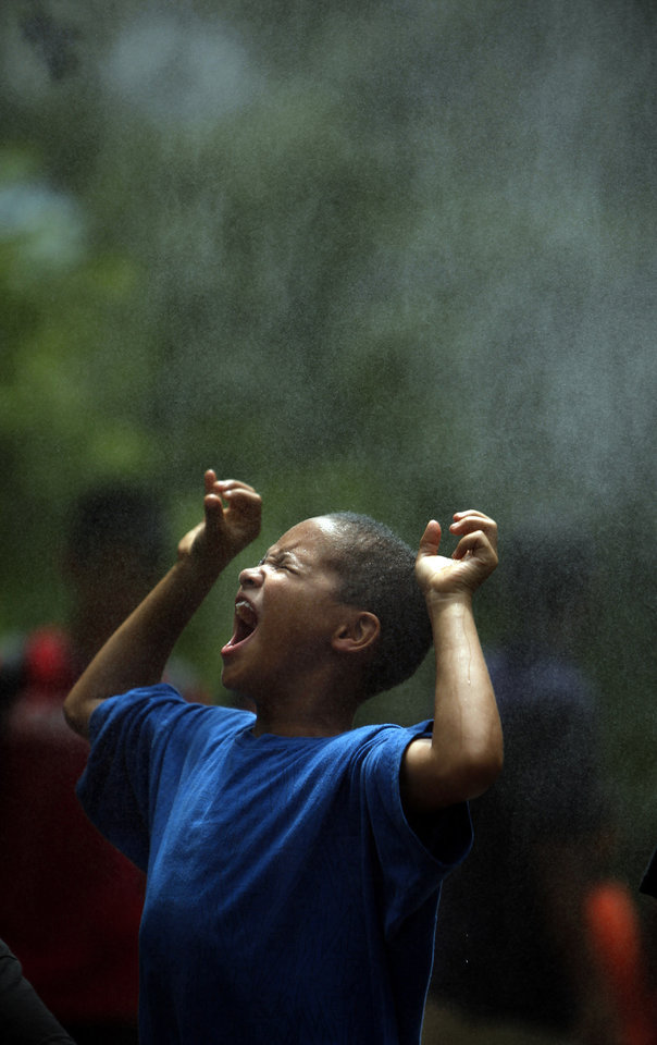 Photo - Ethan Thompson, 7, of Oklahoma City cools off in a mister during taxpayer appreciation day at the Oklahoma City Zoo, Friday, July 17, 2009, in Oklahoma City. Photo by Sarah Phipps,The Oklahoman   ORG XMIT: KOD
