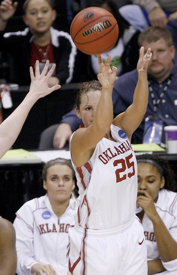 OU's Whitney Hand shoots the ball during the NCAA women's basketball tournament game between Oklahoma and Pittsburgh at the Ford Center in Oklahoma City, Sunday, March 29, 2009.  PHOTO BY BRYAN TERRY, THE OKLAHOMAN
