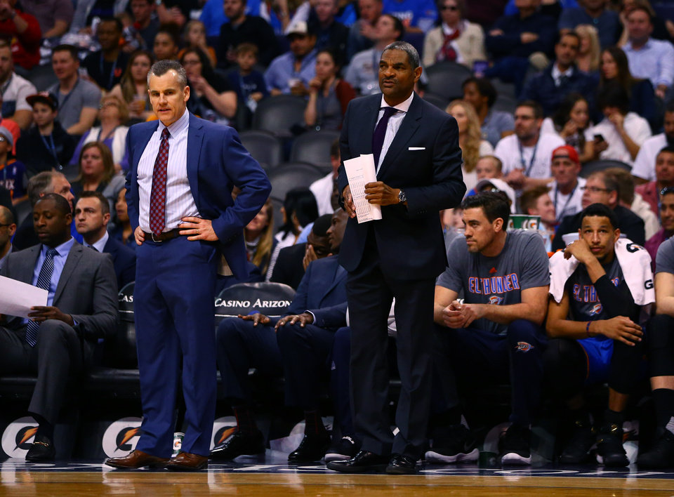 Photo - Mar 3, 2017; Phoenix, AZ, USA; Oklahoma City Thunder head coach Billy Donovan (left) and assistant coach Maurice Cheeks against the Phoenix Suns at Talking Stick Resort Arena. Mandatory Credit: Mark J. Rebilas-USA TODAY Sports