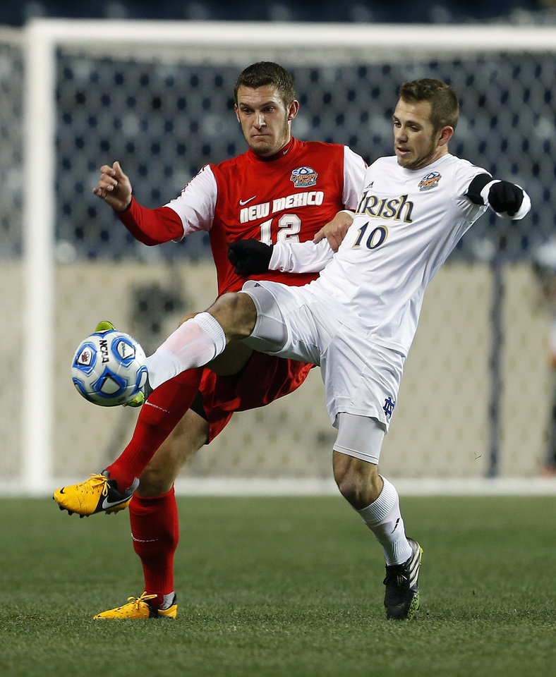 Notre Dame's Harrison Shipp (10) keeps the ball from New Mexico's Kyle Venter (12) in the first half during a semifinal match in the NCAA Division 1 men's soccer championship in Chester, Pa., Friday, Dec. 13, 2013. (AP Photo/Rich Schultz)