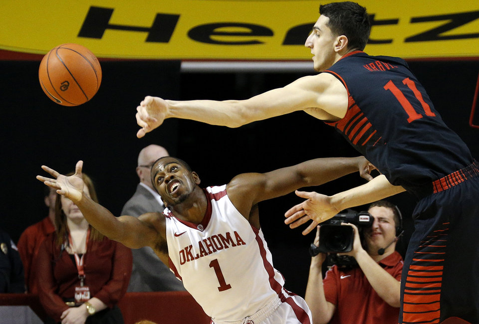 Texas Tech's Dejan Kravic (11) passes the ball over Oklahoma's Sam Grooms (1) during an NCAA college basketball game between the University of Oklahoma and Texas Tech University at Lloyd Noble Center in Norman, Okla., Wednesday, Jan. 16, 2013. Photo by Bryan Terry, The Oklahoman