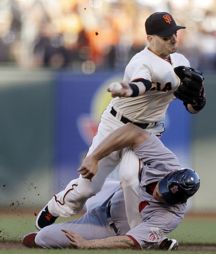 Photo -   San Francisco Giants second baseman Marco Scutaro grimaces as his leg is caught under a sliding St. Louis Cardinals' Matt Holliday on a double play attempt during the first inning of Game 2 of baseball's National League championship series Monday, Oct. 15, 2012, in San Francisco. (AP Photo/Ben Margot)