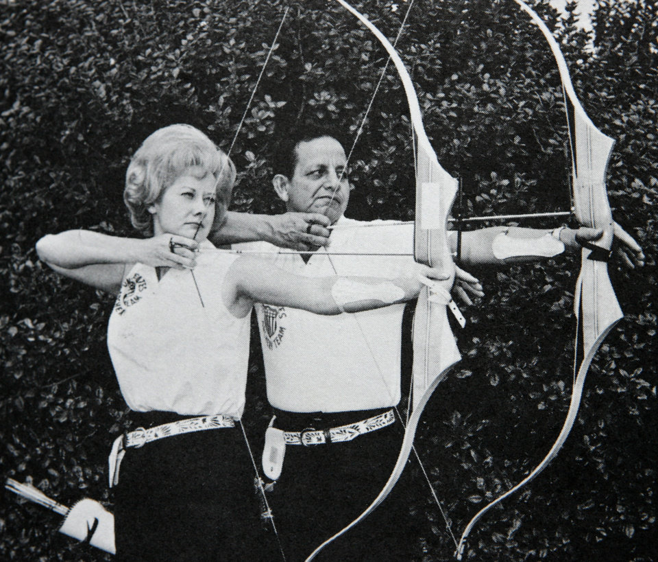 Photo - WORLD CHAMPION ARCHER / ARCHERY / HELEN THORNTON: Copy of photo of Joe Thornton and wife, Helen in the 1970s. Photo was taken by Charles Rogers.  COPIED BY JIM BECKEL/THE OKLAHOMAN    ORG XMIT: KOD