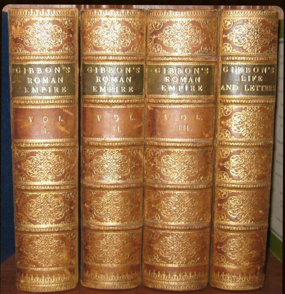"""Photo -  Volumes of Edward Gibbon's """"The History of the Decline and Fall of the Roman Empire"""" are among items in the late Lawrence E. Walsh's estate. PHOTO PROVIDED    -"""