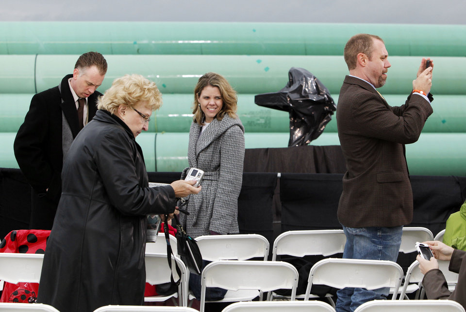 Photo - Guests arrive to hear President Barack Obama's comments at the TransCanada Pipe Yard near Cushing, Okla., Thursday, March 22, 2012. Photo by Nate Billings, The Oklahoman