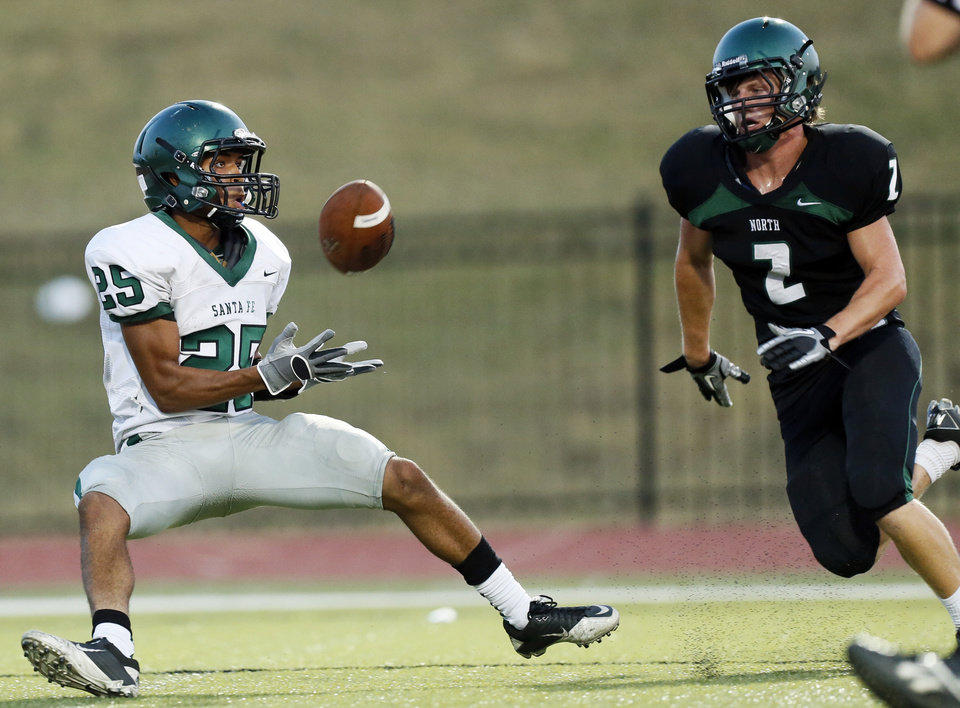 Edmond Santa Fe's Dale Jefferson (25) makes a touchdown catch in front of Norman North's Keaton Haney (2) during a high school football scrimmage at Moore Stadium between Edmond Santa Fe and Norman North in Moore, Okla., Thursday, Aug. 16, 2012. Photo by Nate Billings, The Oklahoman