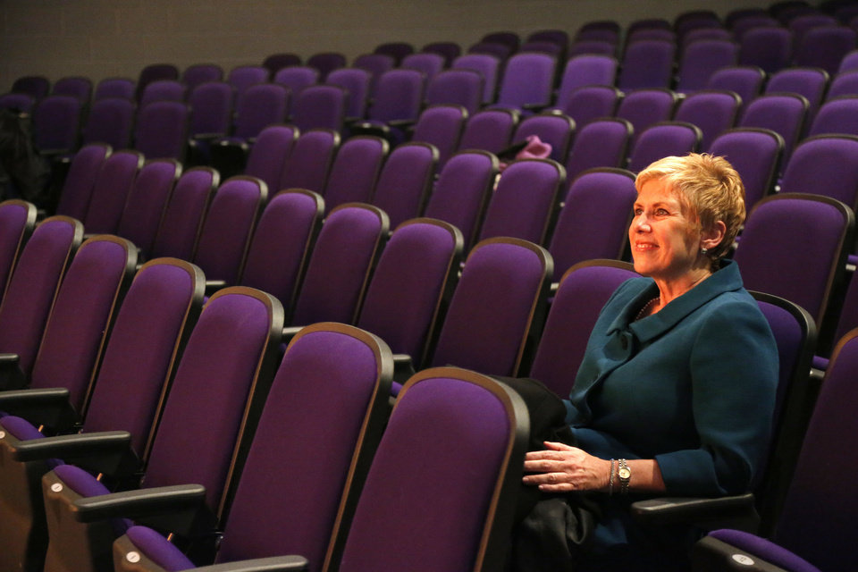 Photo - State schools Superintendent  Janet Barresi watches students  rehearse  a play  during her